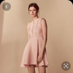 Sandro pink ruffle dress lace details a-line